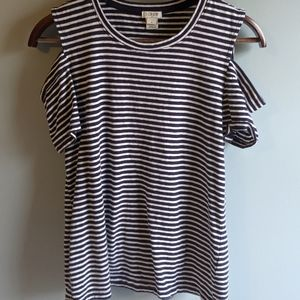 J. Crew Cold Shoulder Striped Top